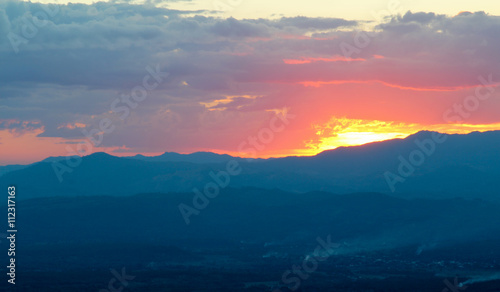Fototapety, obrazy: Fantastic sunset in the mountains.