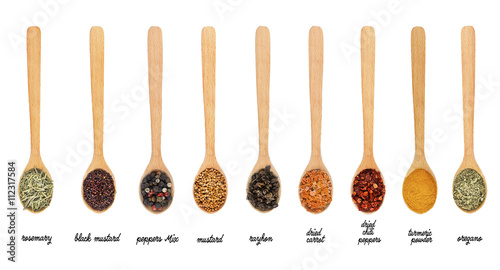 Fotobehang Kruiden 2 Collection of spices in wooden spoons, isolated on white