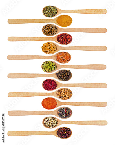 Foto op Canvas Kruiden 2 Collection of spices in wooden spoons, isolated on white