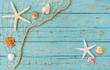 Strandgut mit Fischernetz auf Holz Blau Türkis