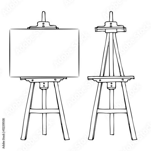 Wooden easel and canvas Canvas Print