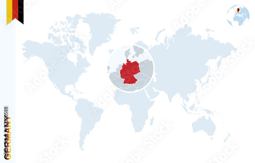 Blue world map with magnifying on Germany. – kaufen Sie ...