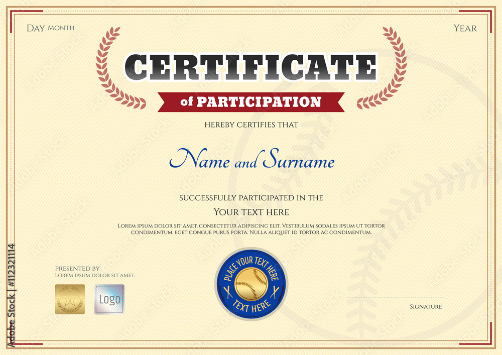 Certificate Of Participation Template | Certificate Of Participation Template In Baseball Sport Theme Foto
