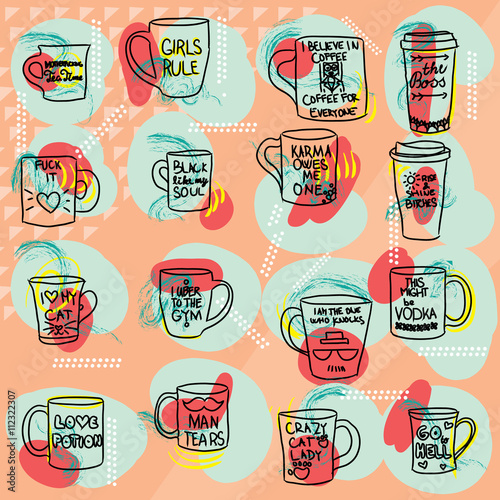 Photo Mug with text set colorful large collection of hand drawn coffee and tea doodles: cups thermos mugs with quotes isolated on orange colored background