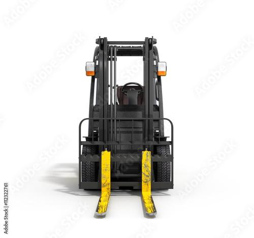 Zdjęcie XXL Wózek widłowy ładowacz odizolowywający na białej 3D ilustraci