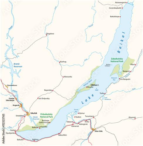Fototapeta Vector map of the Russian Lake Baikal obraz