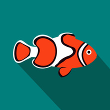 Clown Fish Icon, Flat Style