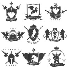 Heraldic Black White Labels