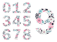 Floral Numbers. Vector Isolate...
