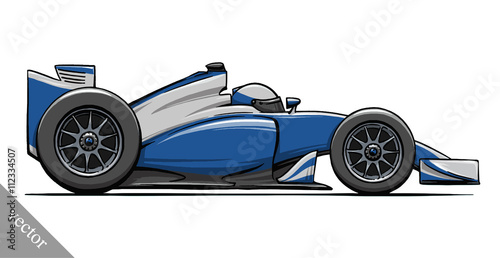 child's funny cartoon formula race car vector illustration art - 112334507