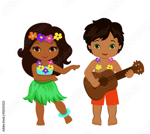 illustration of boy playing guitar and hawaiian girl hula dancing