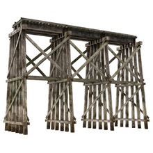 Railroad Timber Trestle Isolated On White 3D Illustration