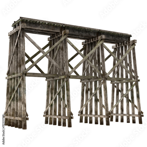 Tablou Canvas Railroad timber trestle isolated on white 3D Illustration