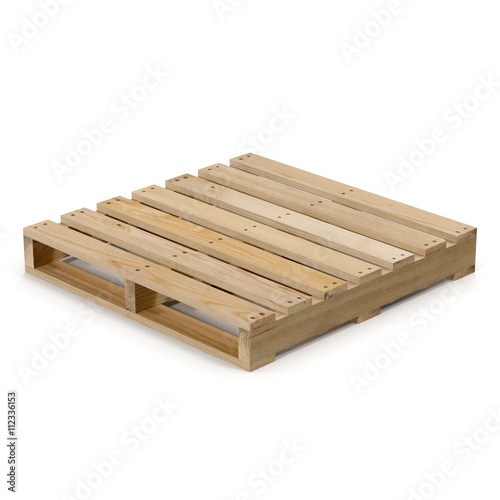 Fotografia Wooden pallet isolated on white 3D Illustration
