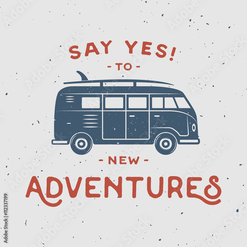 Fotografering  Vintage retro poster with hippie van, surfboard and travel quote