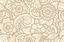 Seamless Pattern With Flowers And Butterfly. Ornate Zentangle Se