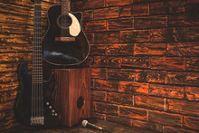 Music Instrument On Wooden Stage In Pub