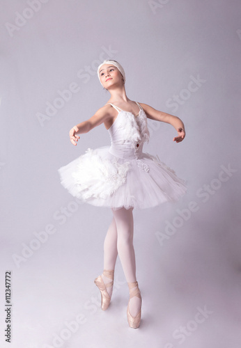 Fotografie, Tablou  Ballerina  is dancing on a white background