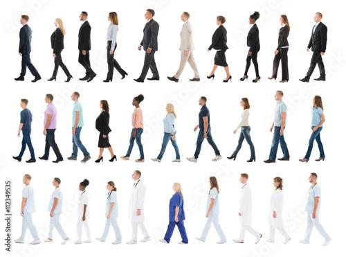 Fototapeta Collage Of People Walking In Line obraz na płótnie