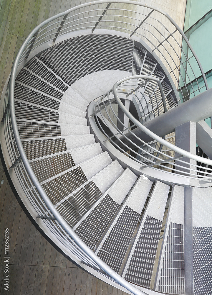Building indoor of metal spiral staircase