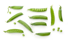 Fresh Green Pea Pods And Peas