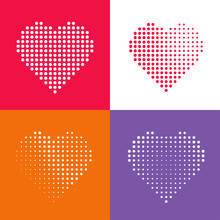 Dotted Heart Icons Set, Red Heat Dots Icon, Abstract Heart Shape Modern Design Vector Illustration Isolated On White Red Gray Background