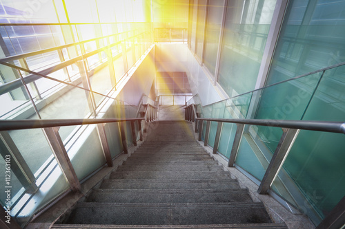 Photo Stands Stairs Building interior stairway with glass windows