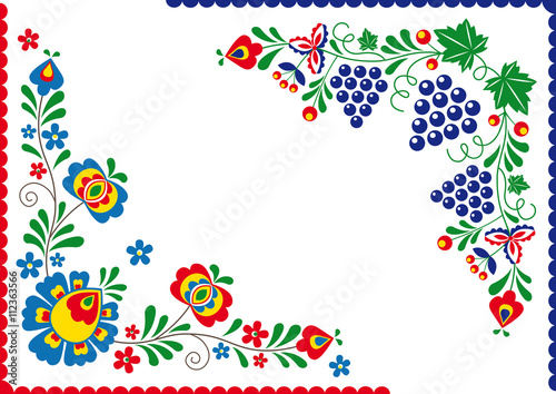 Fotografija  Folk ornaments Simplified folk ornaments from a Slovacko area in a blue version