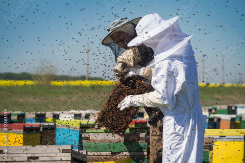 Beekeepers with bees swarming around them Canvas Print