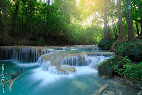 Fototapety, obrazy: Erawan Waterfall, beautiful waterfall in deep forest, Erawan National Park in Kanchanaburi, Thailand