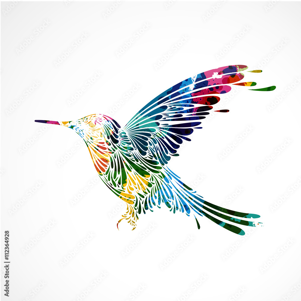 Fototapety, obrazy: oiseau coloré,colibri