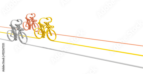Foto op Plexiglas Fietsen Cycle race sport competition championship concept. Abstract gold, silver and bronze bicycles racers as symbol of sporting competition and winning (background template for illustrating bicycle racing)