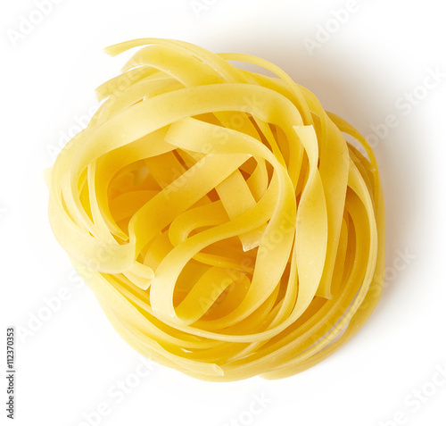 Fotografie, Obraz  Pasta nest isolated on white, from above