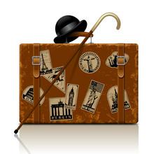 Vintage Brown Threadbare Suitcase With Walking Stick, Bowler Hat