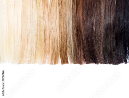 Fotografie, Obraz  Partly isolated palette samples of dyed hair from blond to black