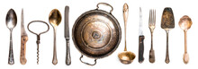 Collection Of Different Antique Kitchen Utensils On White Background