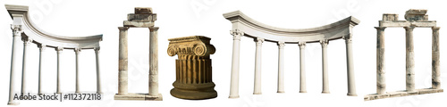Foto op Plexiglas Oude gebouw Collection of different ancient Greek columns isolated on a white background