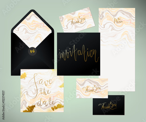 Wedding marble textured invitation suite invitation card menu and wedding marble textured invitation suite invitation card menu and envelope vector templates with peach stopboris Choice Image