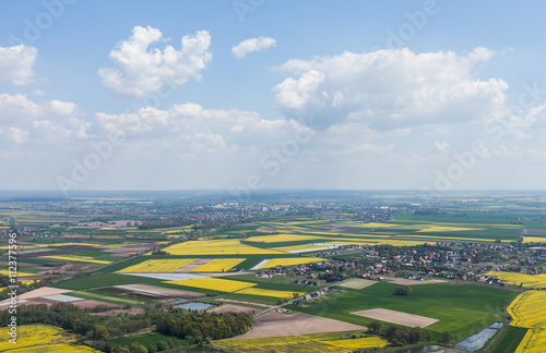 Tuinposter Helicopter aerial view of harvest fields