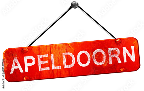 Photo Apeldoorn, 3D rendering, a red hanging sign