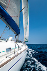 Fototapeta Żagle Yacht in the open sea with blue sky