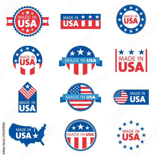 Vector set of made in the USA labels Poster Mural XXL