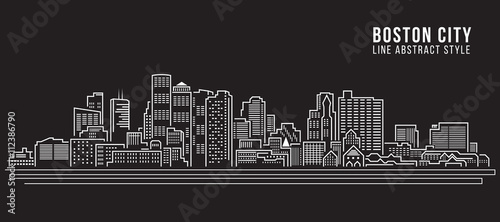 Cityscape Building Line art Vector Illustration design - Boston City Wallpaper Mural