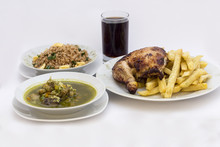 Roasted Chicken Leg/ Fries Potato, Fried Rice, Coriander Soup, Chicha