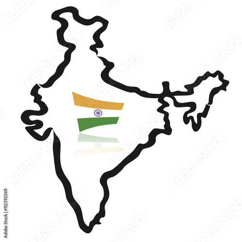 India map, outlines, with flag - Buy this stock vector and