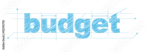 Fotografía BUDGET Vector Technical Drawing Letters Icon