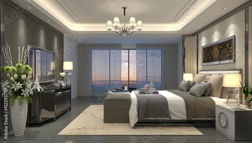 Valokuva  3D illustration bedroom Interior