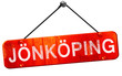 Jonkoping, 3D rendering, a red hanging sign