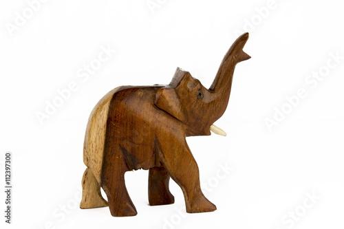 Wooden Elephant on white background