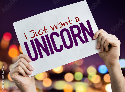 Photo I Just Want a Unicorn placard with night lights on background